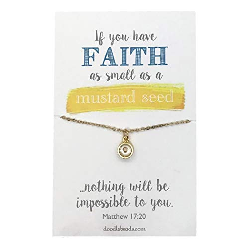 (Doodle Beads Mustard Seed Gold Color Faith Necklace with Sparkling 16-18