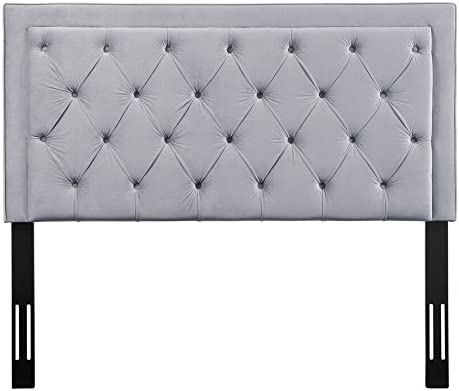 TOV Furniture The Nacht Collection Tufted Upholstered Wood Metal Headboard, Queen Size, Grey