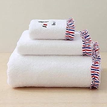 GYwink Toalla de Ducha Juego de 3 Toallas de baño Bordadas absorbentes Toallas de Mano Juego de Toallas de baño Toalla de Cara (Color : White): Amazon.es: ...