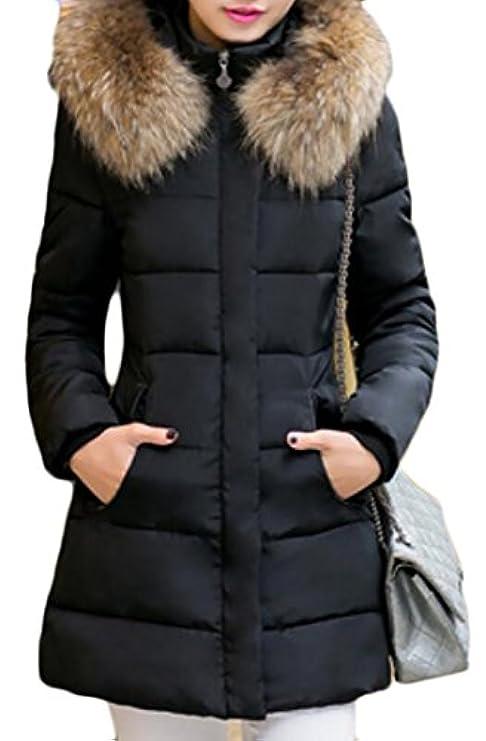 Coat Jacket Pelliccia Sintetica Slim In Trapuntato Down Fit Donna Rrive Tasche Imbottito vqgPxpw