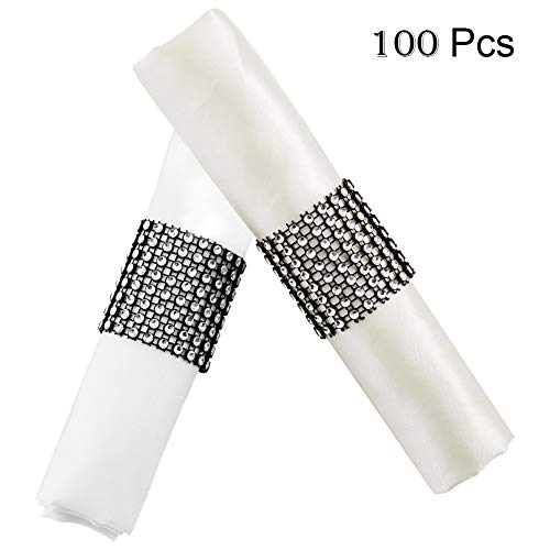 YumHome Napkin Rings Rhinestone Napkin Rings Adornment for Wedding Party (100 PCS, Silver Black)