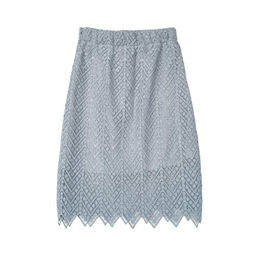 JJNZD Jupe Mi-Longue Jupe Bleue Printemps Et en Automne Jupe Taille Haute Dentelle Jupe Sac Jupe Femme Mince Slim S