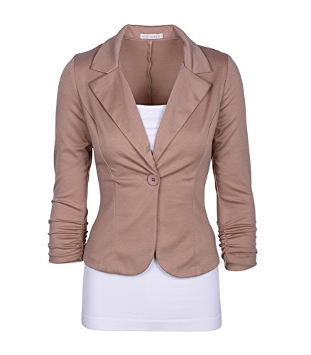 Auliné Collection Women's Casual Work Solid Color Knit Blazer Khaki - Brown Blazer