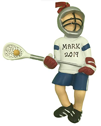 Personalized Lacrosse Player Boy Christmas Ornament 2019 (Lacrosse Christmas Player Ornament)