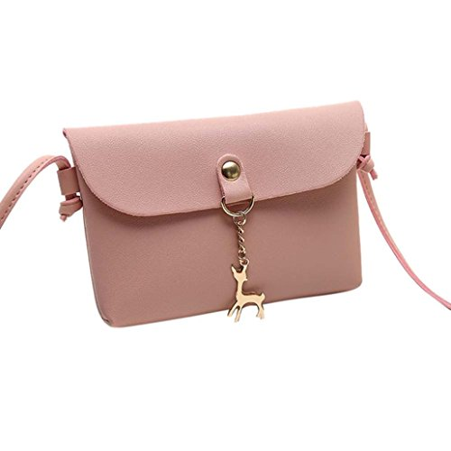 Women's Vintage Small Deer Pendant Leather Crossbody Messenger Bag Shoulder Bag (Pink)