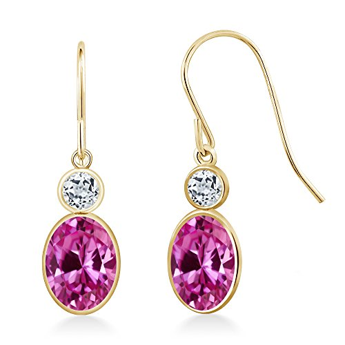 Gem Stone King 2.28 Ct Oval Pink Created Sapphire White Topaz 14K Yellow Gold Earrings