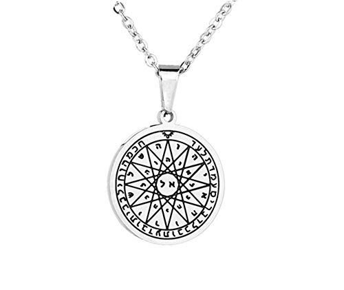 (LiFashion LF Stainless Steel Talisman Seal Solomon Necklace Archangel Gabriel Healing Round Tag Pendant Power Energy Amulet Jewelry for Men Women Christian Gift Silver,Free Chain)