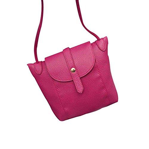 Mengonee Mujeres del estilo coreano de cuero de la PU del bolso de hombro de la muchacha pequeñas bolsas de mensajero hebilla del bolso de Crossbody Lady Clutch Purse Bag Rosa roja
