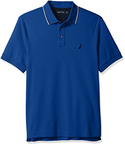 S/s Tipped Collar - Nautica Men's Classic Fit Short Sleeve Solid Soft Cotton Polo Shirt, Monaco Blue Tipped Collar, Small