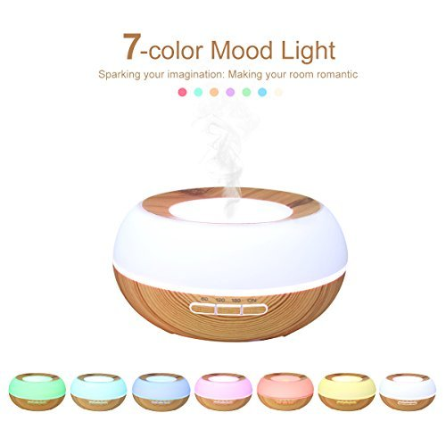 Essential Oil Diffuser, JELEGANT 300ml Aromatherapy Wood Grain Diffuser Ultrasonic Aroma Diffuser Cool Mist Humidifier with 7 Color LED Lights Changing Waterless Auto Shut-off for Home Office Spa