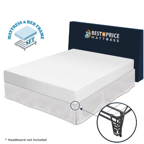 Best Price Mattress 8'' Memory Foam Mattress and Premium Bed Frame Set, Full by Best Price Mattress