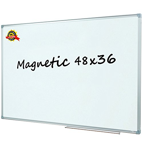 Lockways Magnetic Dry Erase Board - White Board 48 X 36, Whiteboard 3 x 4 Feet, 3 Dry Erase Markers, 8 Magnets, Silver Aluminium Frame for Home, Office, School