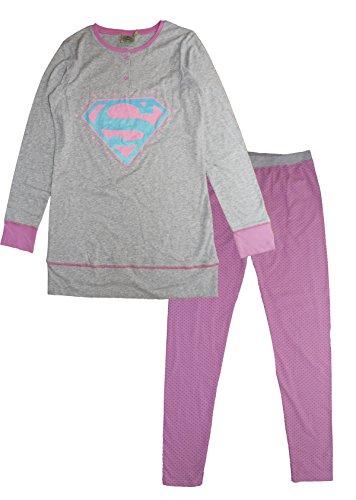 DC Comics Superman, Conjuntos de Pijama para Mujer Grey (Lgrey)