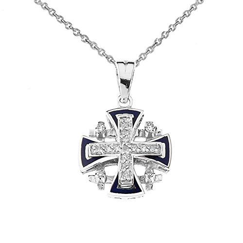 (Elegant 10k White Gold Diamond Jerusalem Cross Pendant Necklace with Blue Enamel, 22