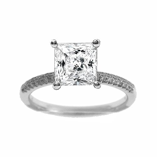 (Platinum 1/7ct TDW Diamond Engagement Ring With 1ct Cubic Zirconia Princess-Cut Center (G, SI1-VS2))