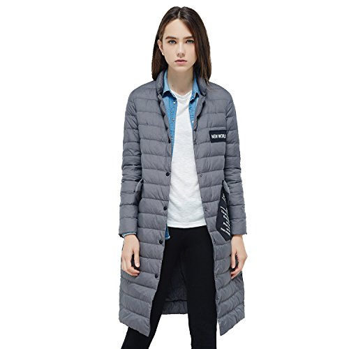 BOSIDENG Women's Goose Down Jacket Single Breasted Button X-Long Ulter Light Down Coat Pattern Pocket OL Baisc Casual Business Outerwear(180/100A 8083) by BOSIDENG