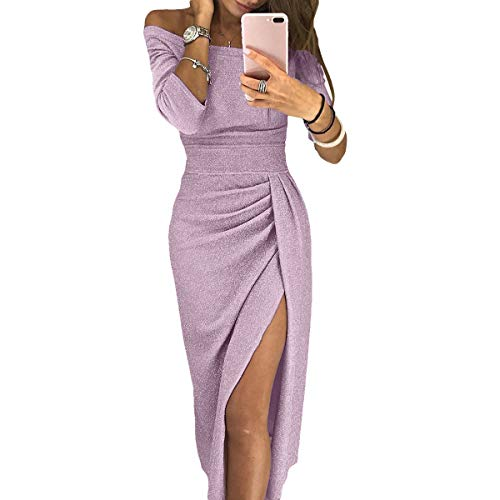 Ancapelion Women's Off Shoulder Long Sleeve Metallic Glitter Party Midi Dress Ruched High Slit Formal Dress(Purple,Small) ...