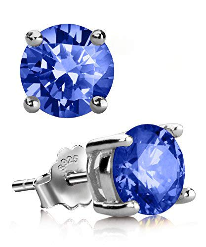 - UHIBROS Sterling Silver Ear Stubs Birthstone Stud Earrings Round Cubic Zirconia Diamond September Earring