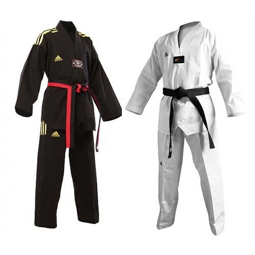 Adidas ChampionテコンドーII Dobok Uniform withブラックVネック B00MAP3YX8