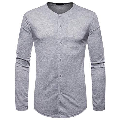kaifongfu T-Shirt Men,Solid Color Men's Long Sleeve Button Top Hoodie Sweatshirts Top ()