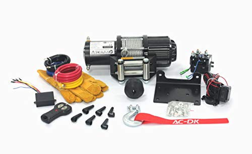 AC-DK 12V 4500lb ATV Winch UTV Winch Electric Winch Set for 4x4 Off Road (4500lb Winch with Cable)