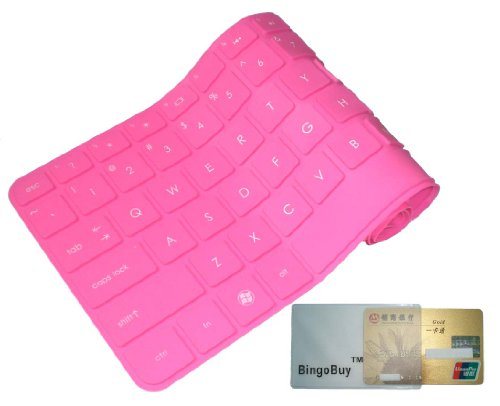 Bingobuy Pink Ultra Thin Soft Silicone Keyboard Protector Skin Cover for Toshiba Satellite E45t-A P845 P845t L800 L805 L830 L840 S40-A S40t-A P840 L40-A L40t-A M800 M805 M840 C800 C800D C805 P800 series (if your