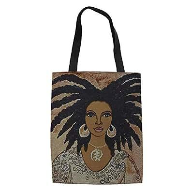 SANNOVO Canvas Shoulder Bag Afro Black Girls African Design Girls Shopping Hand Holder Lady Travel Tote Bag