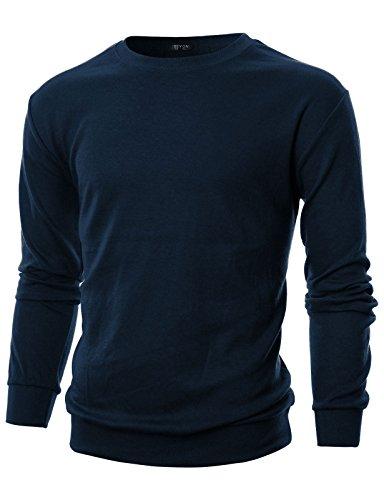 Crew Lightweight Pullover (GIVON Mens Slim Fit Long Sleeve Lightweight Crewneck Sweatshirt/DCS005-NAVY-XL)