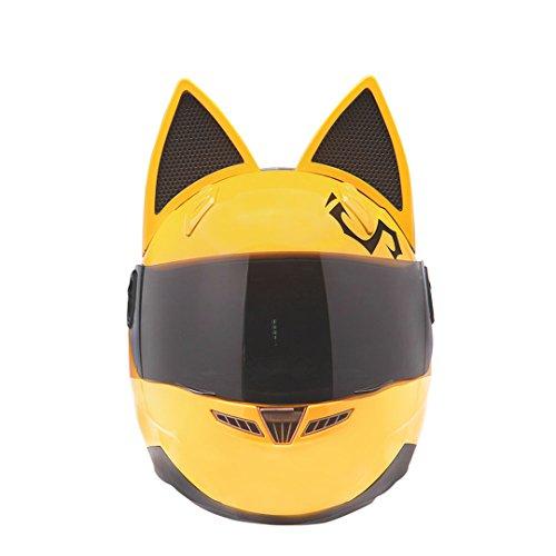 Manngsr Male/Female Personality Black Cat Full Face Motorcycle Helmet Fashion Motorcycle Helmet Yellow L (Helmet Hawk Novelty)