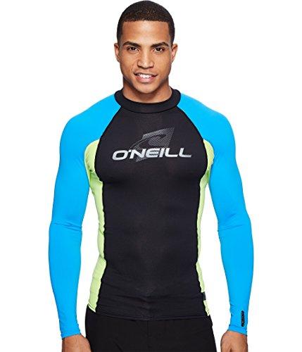O'Neill Wetsuits Men's UV Sun Protection Skins Long Sleeve Crew Sun Rash Guard, Black/Lime/Blue, X-Small