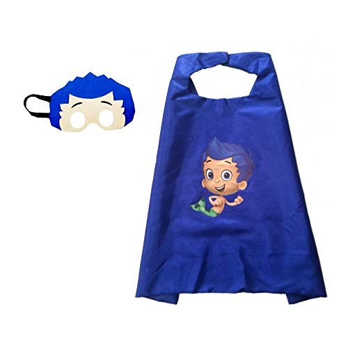 Bek Brands Bubble Guppies Kids Cape and Mask Set | Halloween Costume, Dress Up Play, Superhero Cape, Mask (Gil)
