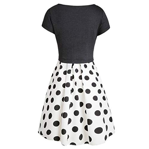 Euone Summer Dress, Fashion Women Short Sleeve Bow Knot Tie Top Dot Print Mini Dress Suits
