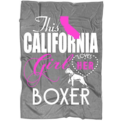 Girl California Boxer - OAKSTORE I Love Boxer Blanket for Bed and Couch, This California Girl Blankets - Perfect for Layering Any Bed - Provides Comfort and Warmth for Years (Large Fleece Blanket (80