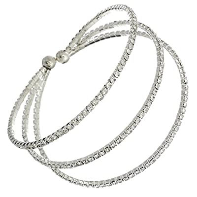 Rosemarie Collections Rhinestone Style Silver Color Triple Cuff Bracelet