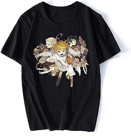 Camiseta Unisex De Verano Anime The Promised Neverland Estampado De Manga Corta Street Casual Camiseta Suelta Camiseta Ampliada