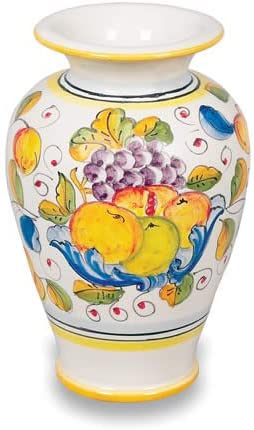 Deruta Hand Painted Miele Ceramic Vase From Italy