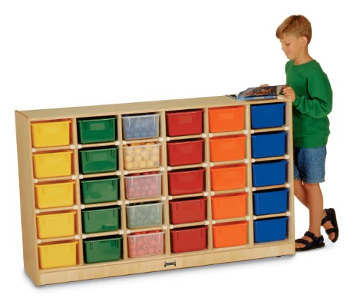 Jonti-Craft 0431JC 30 Cubbie-Tray Mobile Storage with Colored Trays