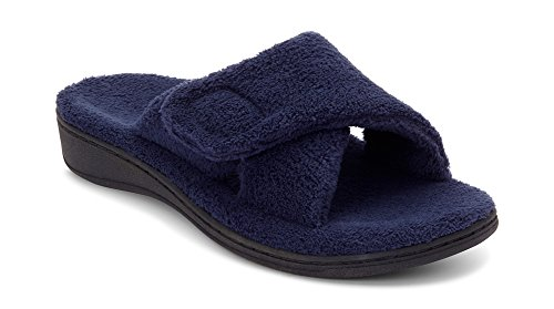 (Vionic Women's Indulge Relax Slipper - Ladies Adjustable Slippers with Concealed Orthotic Arch Support Navy 6M)