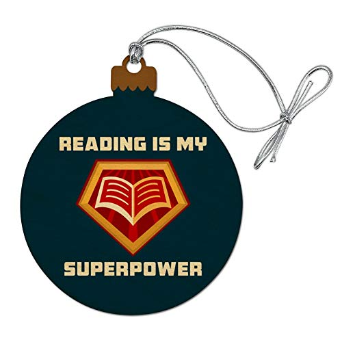 GRAPHICS & MORE Reading is My Superpower Wood Christmas Tree Holiday ()
