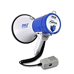 Pyle Megaphone Speaker  | Bullhorn PA Speaker System | Wired Microphone | Siren Alarm Mode | Adjustable Volume Control (PMP50)