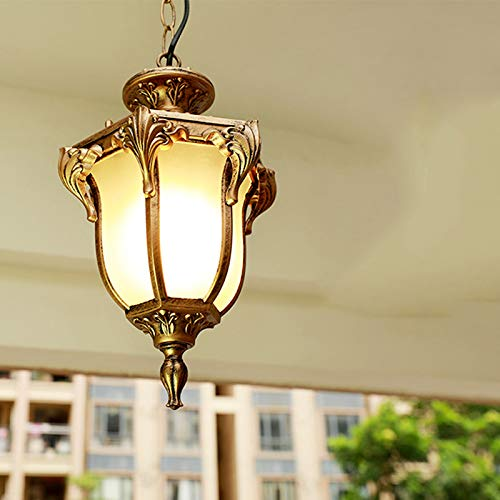 Pumpink Barn 1 Light European Outdoor Pendant Light Waterproof Patio Ceiling Light LED Grapevine Aisle Balcony Villa Garden Chandelier for Porch (Color : Bronze, Size : -