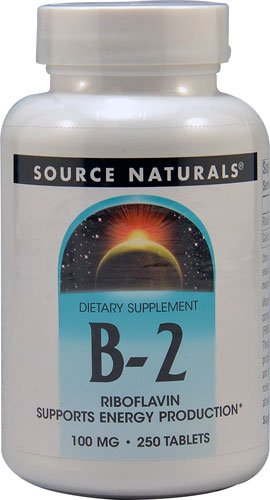 Source Naturals B-2 Riboflavin -- 100 mg - 250 Tablets - 3PC by Source Naturals
