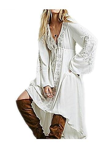 Paule Trevelyan NEW bordado solto hobe estilo vestido longo bohemian vestido Com Decote Em V das mulheres de manga comprida grande hem vestido maxi queda moda - Las Vegas Wedding Invitation Wording