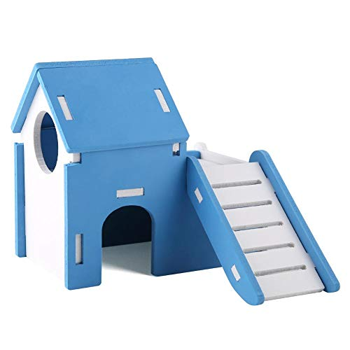 Pet Hamster House, Double-Decker Odorless Home with Stair DIY Hideout Hut Play Nest Toy Viewing Room Natural Living for…