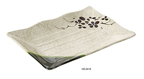 Yanco Honda Collection Japanese Style Melamine Rectangle Sushi Plate (16'' X 10 1/2'') BOX of 12 by Yanco