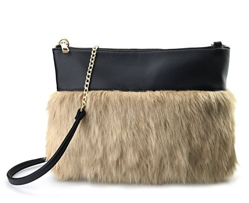 Two-tone Faux Fur And Texture Leather Shoulder Bag For Women (Black Leather)