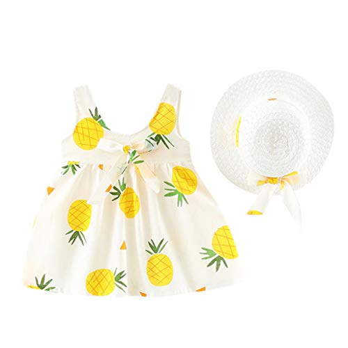 WOCACHI Toddler Baby Girls Clothes, Baby Kids Girls Sleeveless Pineapple Princess Dresses Bow Hat Outfits Newborn Mom Daughter Son Layette Sets Best Gift Multi 0-3M]()