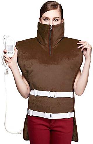温水ショール、車オフィスホーム旅行のための3つの調節可能な温度タイミング機能のヘルプを逃がし痛みで関節を有する電気暖房毛布ショルダーケープ - マシンウォッシャブル (Color : 褐色)