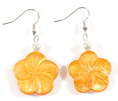 Style-ARThouse Peach Plumeria Orange Color Mother-of-Pearl Flower Earrings; 1.5 Inches Total