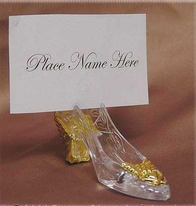 Factory Direct Gold Accented Cinderella Slipper Placecard Holders - 36 Place Card Holders